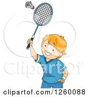 Clipart Of A Caucasian Boy Playing Badminton Royalty Free Vector Illustration