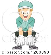 Clipart Of A Cricket Wicket Keeper Boy Royalty Free Vector Illustration by BNP Design Studio