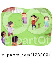 Clipart Of Happy Children Playing Cricket In A Yard Royalty Free Vector Illustration