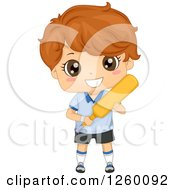 Clipart Of A Brunette Caucasian Boy Holding A Cricket Bat Royalty Free Vector Illustration