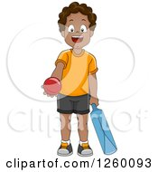 Clipart Of A Happy Black Boy Holding A Cricket Ball And Bat Royalty Free Vector Illustration by BNP Design Studio