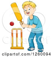 Clipart Of A Blond Caucasian Boy Cricket Bating Royalty Free Vector Illustration