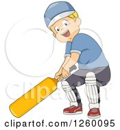 Clipart Of A Blond Caucasian Boy Cricket Bating Royalty Free Vector Illustration by BNP Design Studio