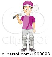 Clipart Of A Boy Holding A Cricket Bat Royalty Free Vector Illustration by BNP Design Studio