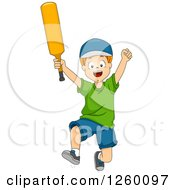 Clipart Of A Caucasian Boy Jumping With A Cricket Bat Royalty Free Vector Illustration