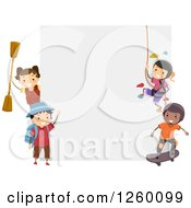 Clipart Of Sporty Children Around A Blank Sign Royalty Free Vector Illustration