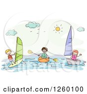 Clipart Of Sketched Stick Kids Boating And Windsurfing Royalty Free Vector Illustration by BNP Design Studio