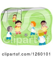 Clipart Of Boys Playing Soccer Royalty Free Vector Illustration