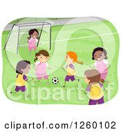 Clipart Of Girls Playing Soccer Royalty Free Vector Illustration