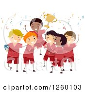 Clipart Of A Team Of Happy Boys Holding Up A Trophy Royalty Free Vector Illustration