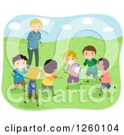 Clipart Of A Coach Watching Boys Playing Rugby Royalty Free Vector Illustration