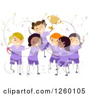 Clipart Of Cheering Rugby Girls Holding Up A Trophy Royalty Free Vector Illustration