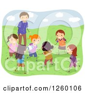 Clipart Of Coach And Happy Girls Playing Rugby Royalty Free Vector Illustration