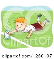 Clipart Of A Caucasian Boy Playing Rugby Royalty Free Vector Illustration