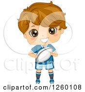 Clipart Of A Caucasian Boy Holding A Rugby Football Royalty Free Vector Illustration