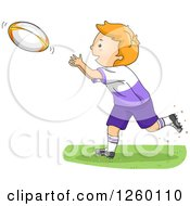 Clipart Of A Caucasian Boy Catching A Rugby Football Royalty Free Vector Illustration by BNP Design Studio