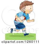 Clipart Of A Caucasian Boy Running With A Rugby Football Royalty Free Vector Illustration