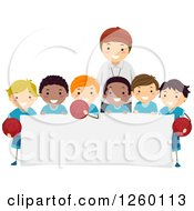 Clipart Of A Coach And Group Of Happy Basketball Team Boys Over A Blank Sign Royalty Free Vector Illustration