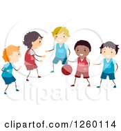Clipart Of Happy Boys Playing Basketball Royalty Free Vector Illustration