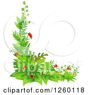 Clipart Of A Jungle Plant Corner Border Royalty Free Vector Illustration