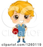 Clipart Of A Caucasian Boy Holding A Basketball Royalty Free Vector Illustration by BNP Design Studio