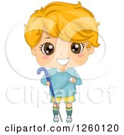 Clipart Of A Caucasian Boy Holding A Field Hockey Stick And Ball Royalty Free Vector Illustration