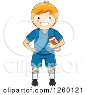 Clipart Of A Caucasian Boy Holding A Football Royalty Free Vector Illustration by BNP Design Studio