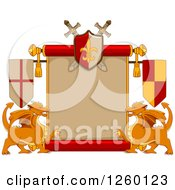 Clipart Of A Heraldic Scroll With Swords And Dragons Royalty Free Vector Illustration