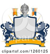 Clipart Of A Heraldic Shield With A Knight Helmet Flag And Lions Royalty Free Vector Illustration