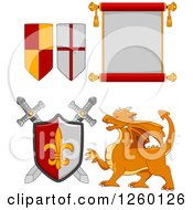 Clipart Of Heraldic Flags Scroll Swords Shield And Dragon Royalty Free Vector Illustration