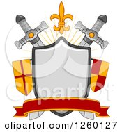 Clipart Of A Heraldic Shield With Aswords And Flags Royalty Free Vector Illustration