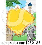 Clipart Of A Knight Blocking Fire From A Dragon At A Castle Royalty Free Vector Illustration