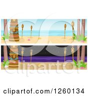 Clipart Of Website Borders Of Tikis And Torches Day And Night Royalty Free Vector Illustration