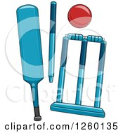 Clipart Of Cricket Game Equipment Royalty Free Vector Illustration by BNP Design Studio