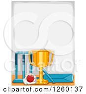 Clipart Of A Border With A Sports Trophy And Cricket Equipment Royalty Free Vector Illustration