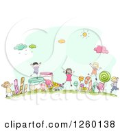 Clipart Of Sketched Stick Kids In A Candy Land Royalty Free Vector Illustration