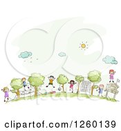 Clipart Of Sketched Stick Kids Playing At A Summer Camp Royalty Free Vector Illustration