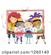 Clipart Of Happy Children Posing With Party Costumes In A Frame Royalty Free Vector Illustration