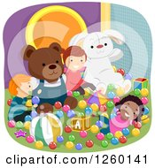 Clipart Of Happy Children Playing At An Indoor Playground Royalty Free Vector Illustration