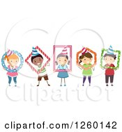 Clipart Of A Group Of Happy Children Wearing Party Hats And Posing In Frames Royalty Free Vector Illustration