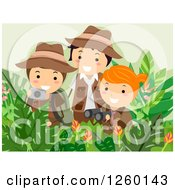 Clipart Of A Girl And Boys Taking Pictures And Using Binoculars On A Safari Adventure Royalty Free Vector Illustration by BNP Design Studio
