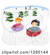 Clipart Of A Boy And Girl Snow Tubing Royalty Free Vector Illustration
