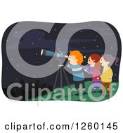Clipart Of Excited Children Stargazing Royalty Free Vector Illustration by BNP Design Studio