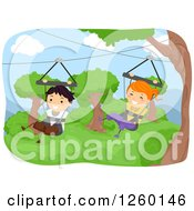 Clipart Of Happy Children Ziplining In Swings Royalty Free Vector Illustration