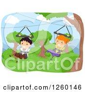 Happy Children Ziplining In Swings