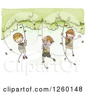 Clipart Of Sketched Jungle Stick Kids Swinging From Ropes Royalty Free Vector Illustration by BNP Design Studio