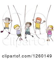 Clipart Of Sketched Stick Kids Swinging From Ropes Royalty Free Vector Illustration by BNP Design Studio