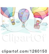 Clipart Of Sketched Stick Kids Flying In Hot Air Balloons Royalty Free Vector Illustration