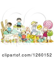 Clipart Of Sketched Stick Kids Playing In Giant Candy Royalty Free Vector Illustration