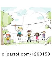 Clipart Of Sketched Stick Kids Ziplining Royalty Free Vector Illustration by BNP Design Studio